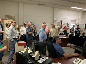 Sec. Perdue and Rep. LaMalfa viewing operations within the Jones Pumping Plant Control Room